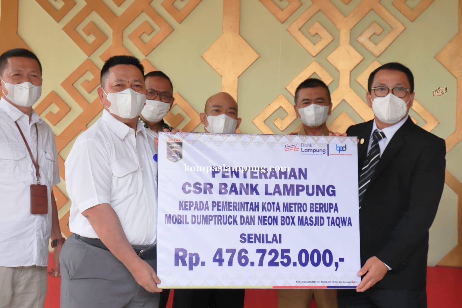 Pemkot Metro Terima Bantuan CSR Senilai Rp 476.725.000 Dari Bank Lampung