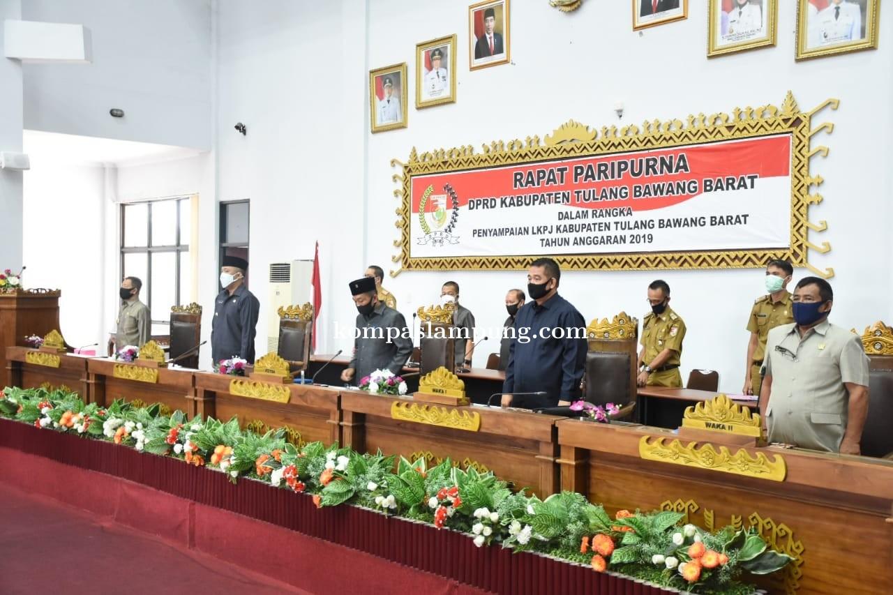 Bupati Tubaba Menyampaikan LKPJ 2019 Pada Rapat Paripurna DPRD Tubaba Di Gedung DPRD