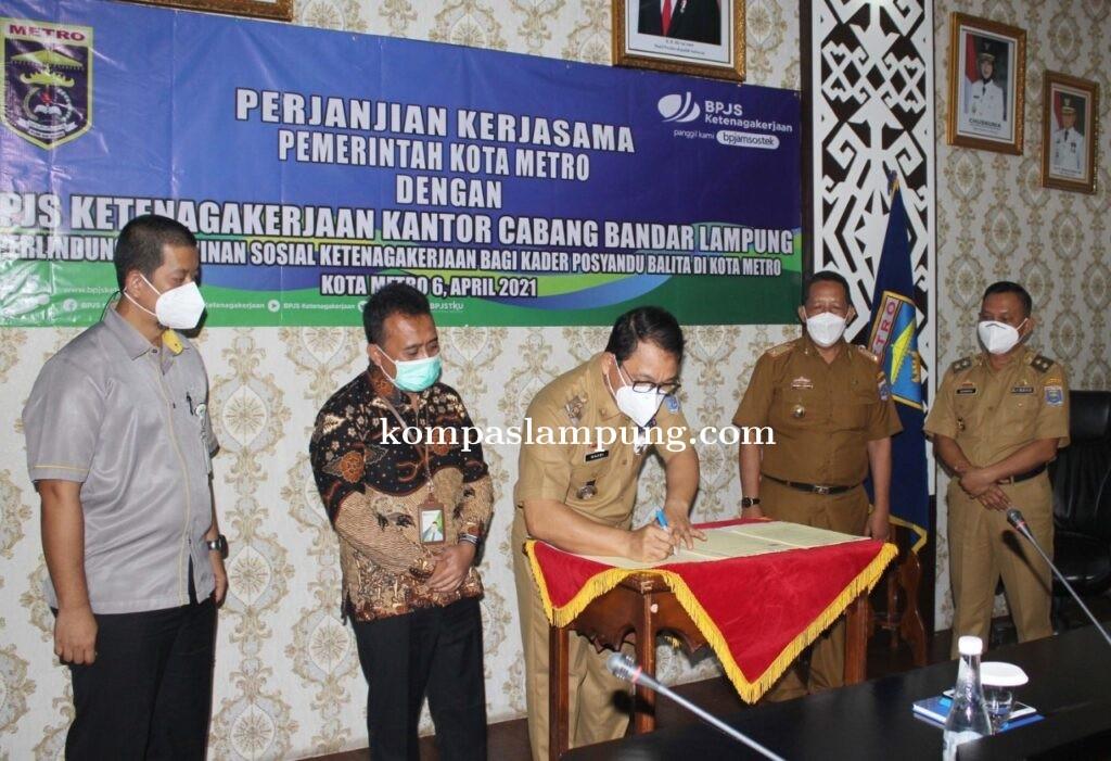 MoU Antara Pemkot Metro Dengan BPJS Ketenagakerjaan Kantor Cabang Bandar Lampung