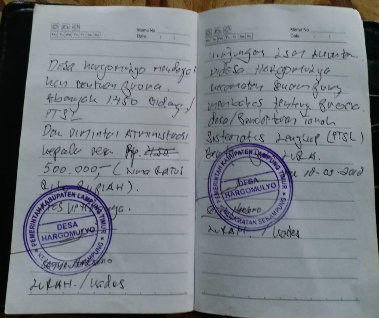 Di Duga Kades Hargomulyo Curi Uang Masyarakat Lewat PTSL