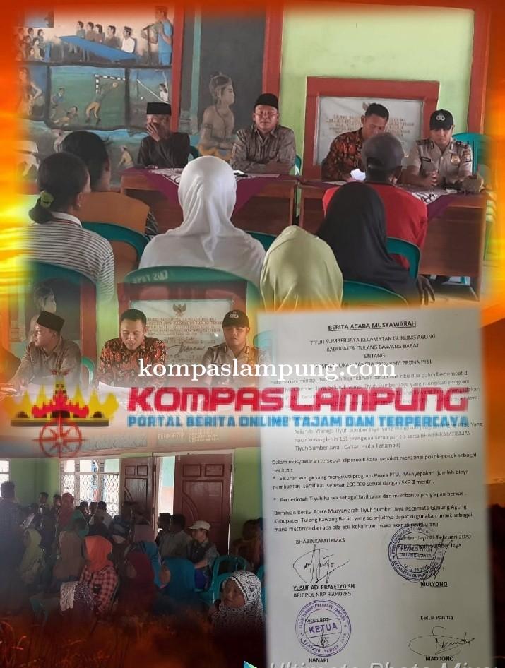 Masyarakat Tiyuh Sumber Jaya Ucapkan Terima Kasih Presiden Joko Widodo Membuat Program PTSL