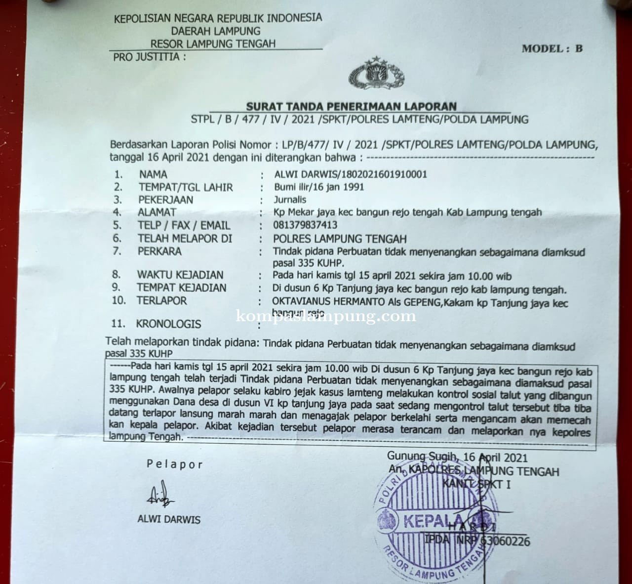 Forum Jurnalis Seputih Barat (FJSB) Lamteng Akan Lakukan Aksi Damai Kawal Kasus Intimidasi Wartawan.