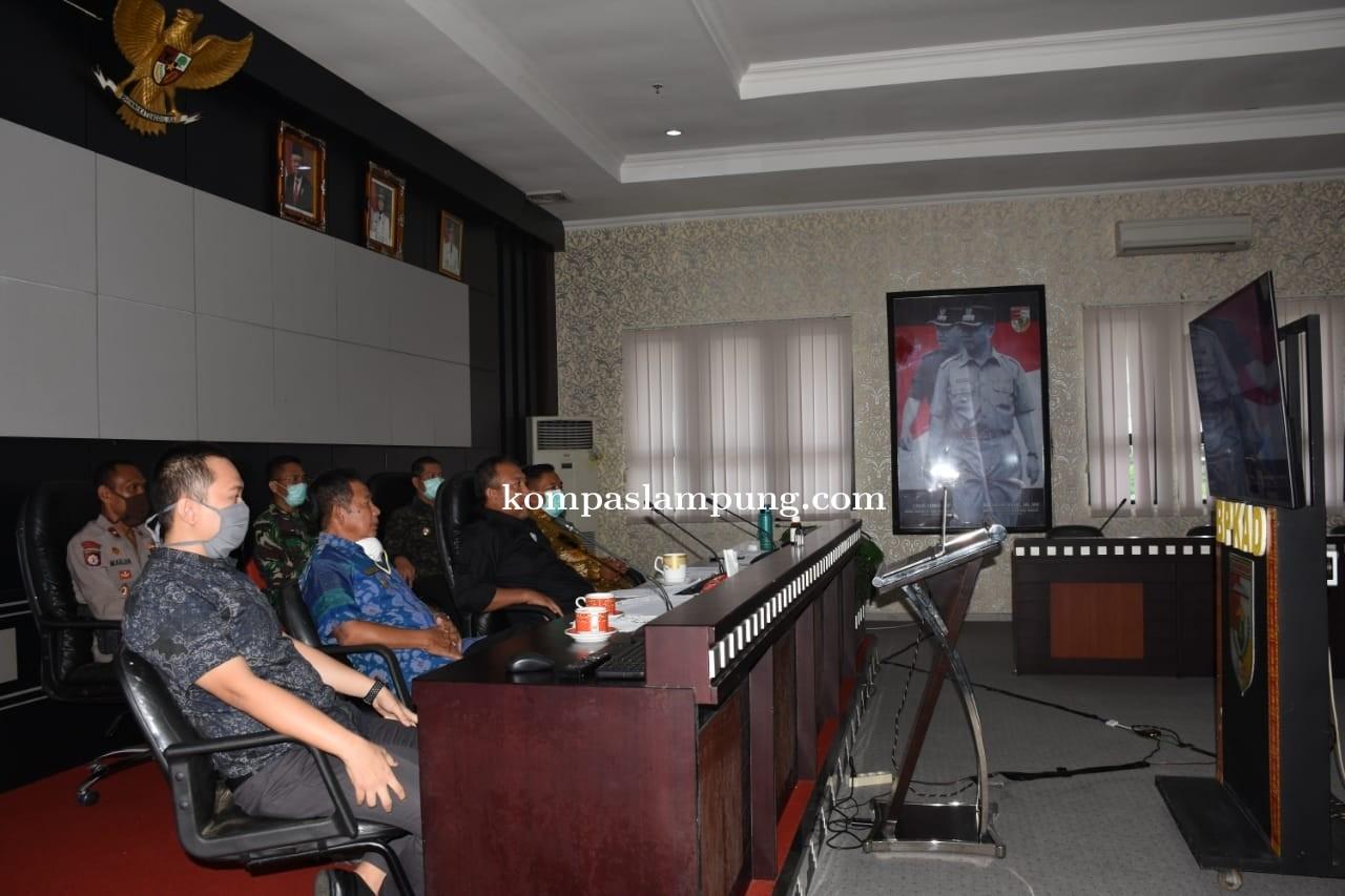 Penanganan Corona Bupati Tubaba Teleconference Dengan Gubernur Dan Bupati/Walikota Se-Lampung