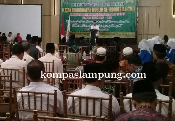Bupati Lampung Tengah  Loekman Djoyosoemarto Hadiri Pelantikan (ICMI) Lamteng