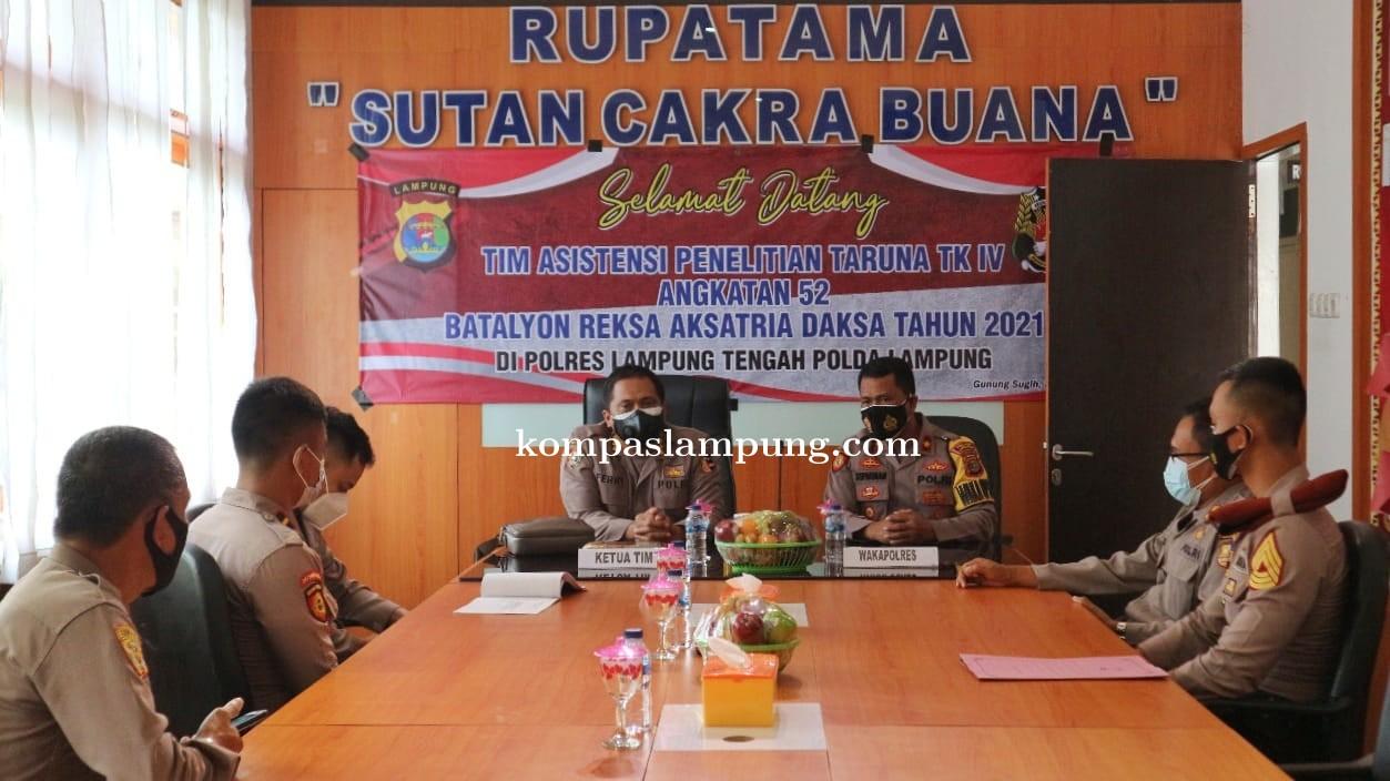 Kunjungan Tim Asistensi Penelitian Taruna TK IV Angkatan 52 Di Polres Lampung Tengah