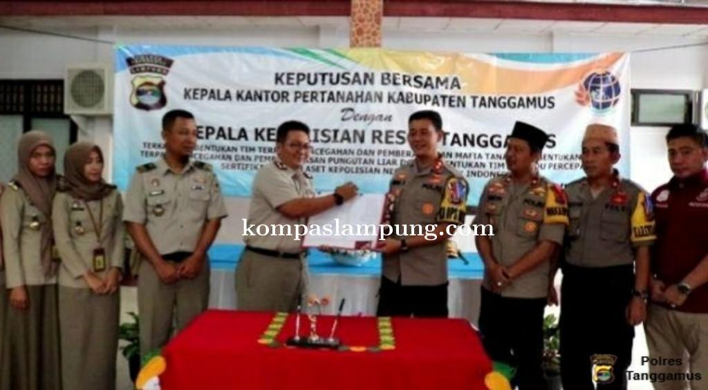 Polres Tanggamus dan BPN Gelar MoU Pembentukan Tim Terpadu Berantas Mafia Tanah dan Pungli