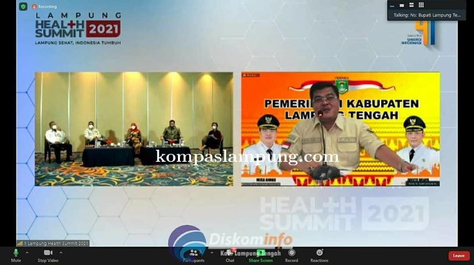 Bupati Lamteng Jadi Narasumber Dalam Acara Lampung Health Summit 2021